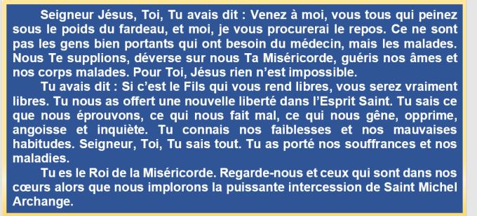 Prière à Saint Michel Archange pour les malades