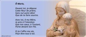 Prions pour l'intention que Marie porte dans son cœur