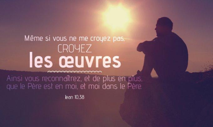 «…Même si vous ne me croyez pas, croyez les œuvres. Ainsi vous reconnaîtrez, et de plus en plus, que le Père est en moi, et moi dans le Père. »