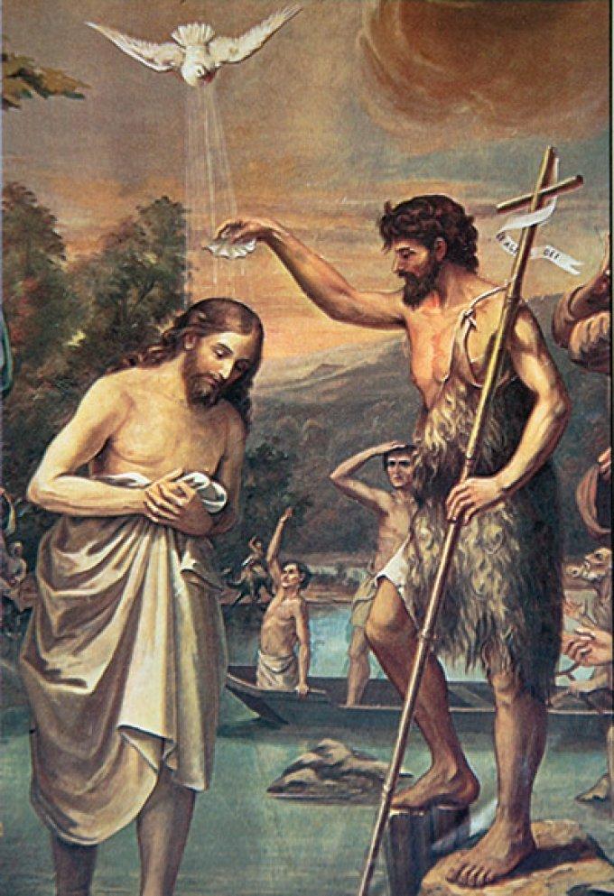 Los Misterios Luminosos: Bautismo de Jesús en el rio Jordán.
