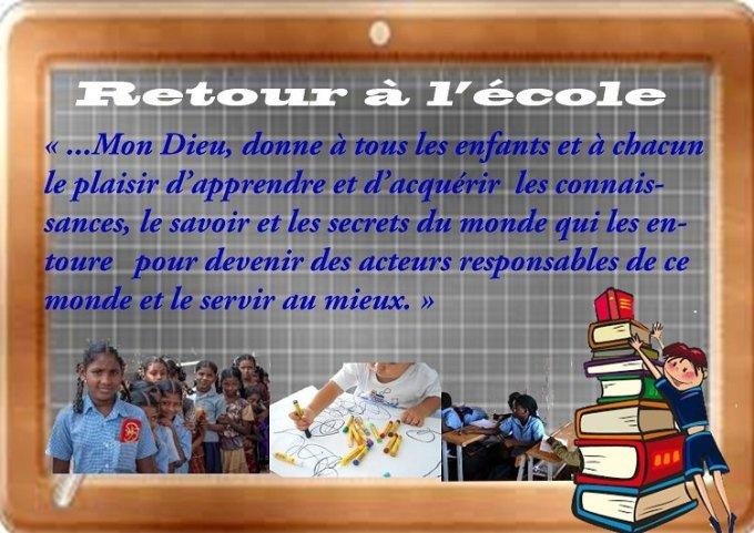 Prière pour la rentrée scolaire  - de Jean-Pierre TELLIER  diacre permanent.