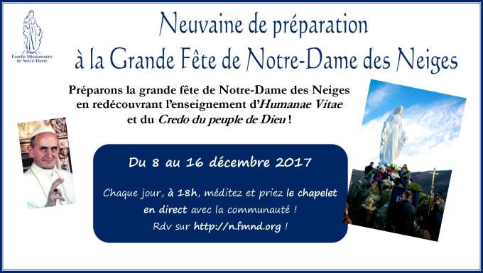 Nouvelle neuvaine à Notre-Dame des Neiges : du 8 au 16 décembre 2017