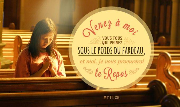 « Venez à moi, vous tous qui peinez sous le poids du fardeau, et moi, je vous procurerai le repos. » Mt 11,28