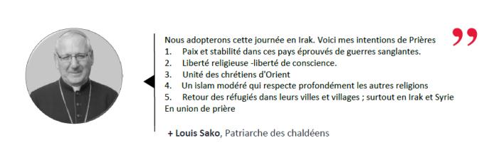 Intentions de prière pour le 25 mars par le Patriarche des Chaldéens
