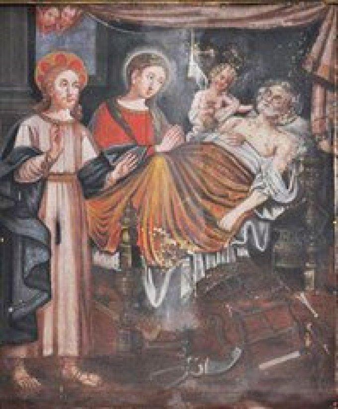 Saint Joseph, mort saintement entre les bras de Jésus et Marie,