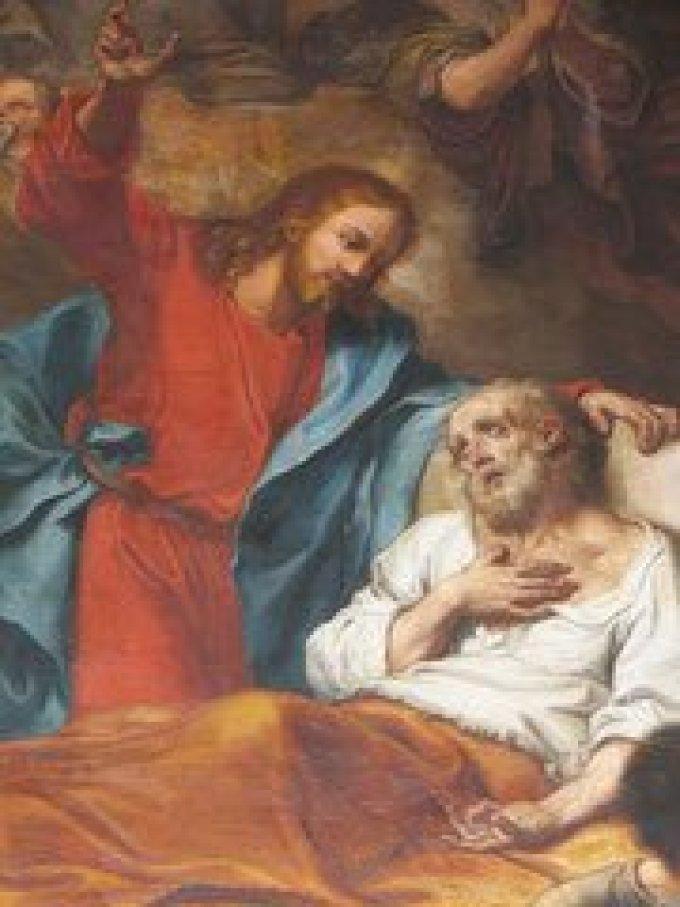 Saint Joseph, qui avez expiré entre le bras de Jésus, priez pour nous