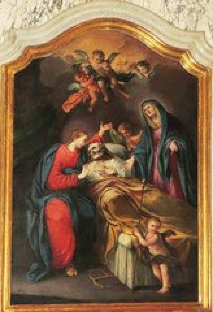 Saint Joseph, mort saintement entre les bras de Jésus et Marie, ppn