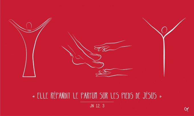 Elle répandit le parfum sur les pieds de Jésus.
