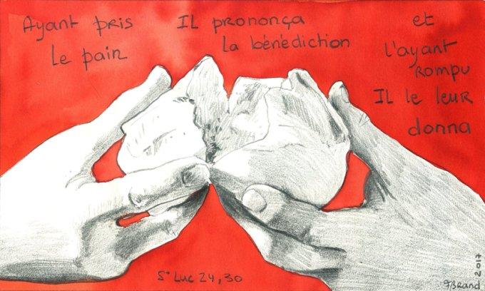 Il prononça la bénédiction et, l'ayant rompu, il le leur donna
