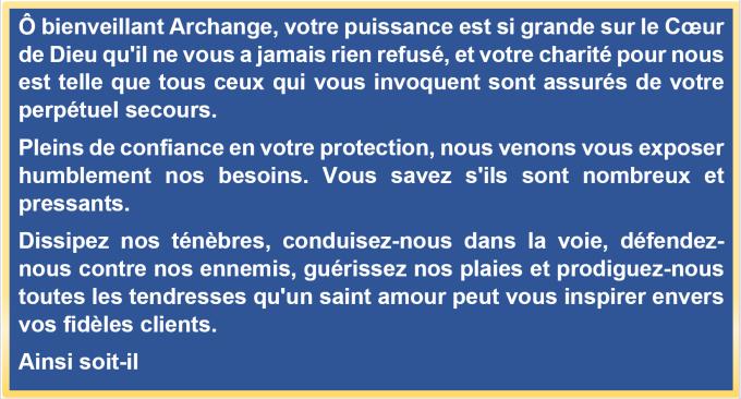 Prière à saint Michel Archange, pour tous nos besoins