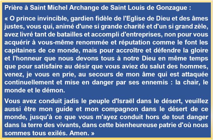 Prière à Saint Michel de Saint Louis de Gonzague