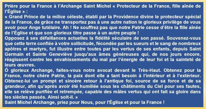 Prière à Saint Michel Archange pour la France