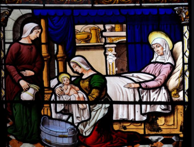 Nous vous saluons, ô Mère Sainte, qui avez mis au monde celui qui règne....