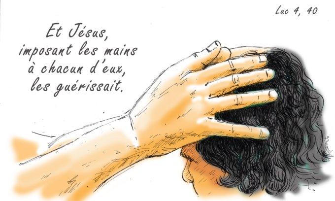 Et Jésus, imposant les mains à chacun d'eux, les guérissait.