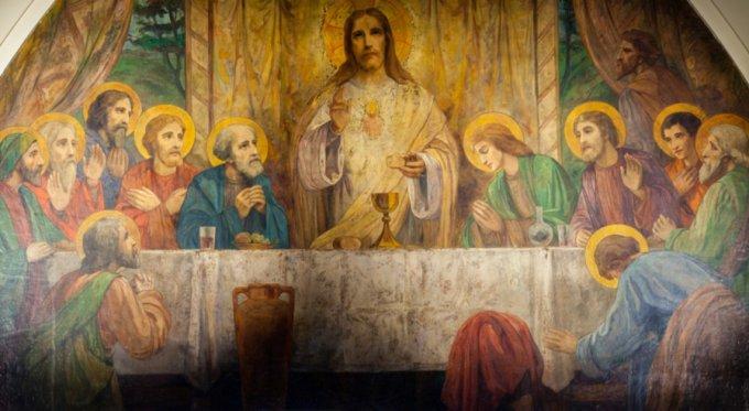Cœur de Jésus préparant et instituant l'Eucharistie