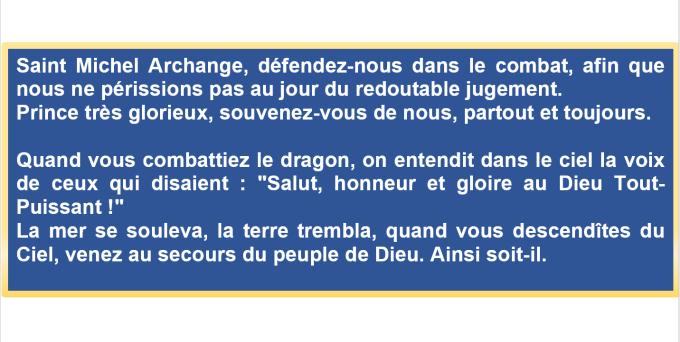 Prière à Saint Michel pour le secours du peuple de Dieu