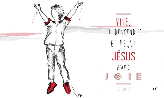 il descendit et reçut Jésus avec joie. Voyant cela, tous récriminaient : « Il e