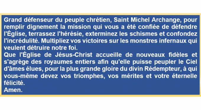 Prière à Saint Michel Archange pour les fidèles et prêtres